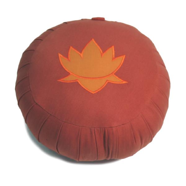 Rotondo-kapok-e-loto-ricamato,-arancio